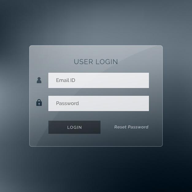 Login scuro modello di progettazione dell'interfaccia utente Vettore gratuito