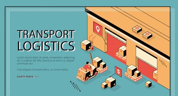 Logistica dei trasporti, servizio di consegna banner web isometrico, pagina di destinazione. Vettore gratuito