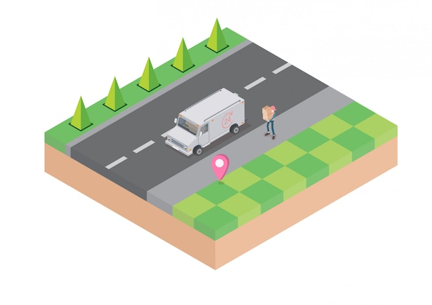 Logistica e consegna infografica. isometrico, camion, drone e fattorino. illustrazione vettoriale Vettore Premium