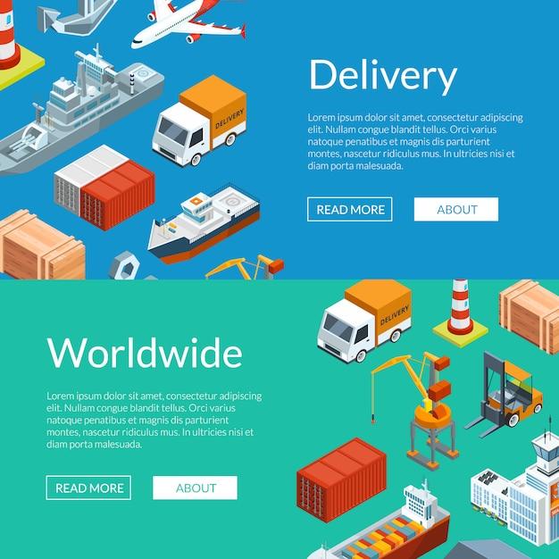 Logistica marittima isometrica e modelli di banner web porto marittimo Vettore Premium