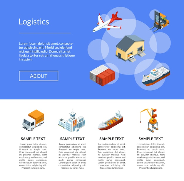 Logistica marittima isometrica Vettore Premium