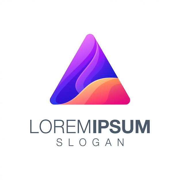 Logo a colori sfumati a triangolo Vettore Premium
