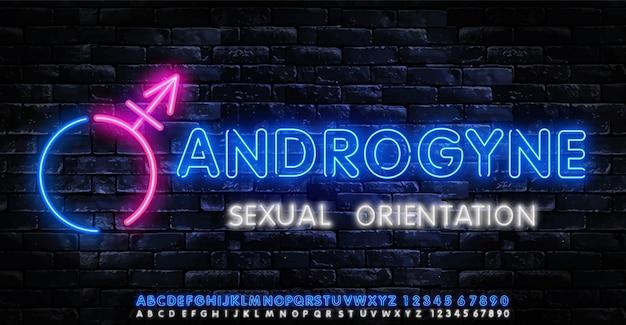 Logo al neon androgyne. modello di vettore delle insegne al neon lgbt. Vettore Premium