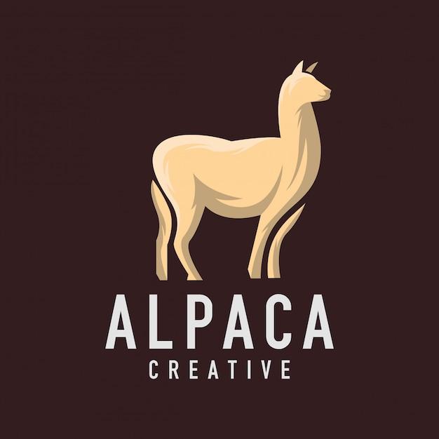 Logo alpaca sul buio Vettore Premium