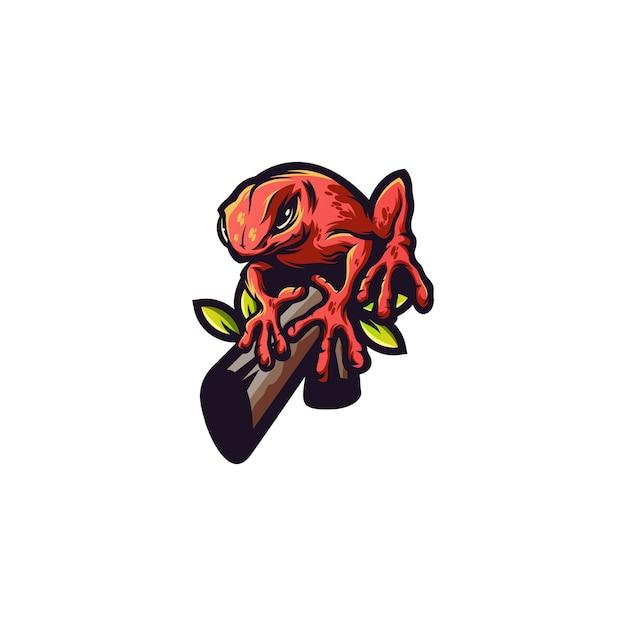 Logo animale rana Vettore Premium