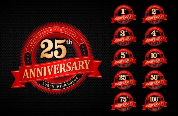 Logo anniversario emblema rosso gradiente stile elegante Vettore Premium