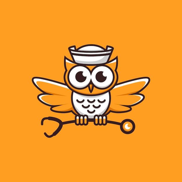 Logo arancione del gufo di professione d'infermiera Vettore Premium