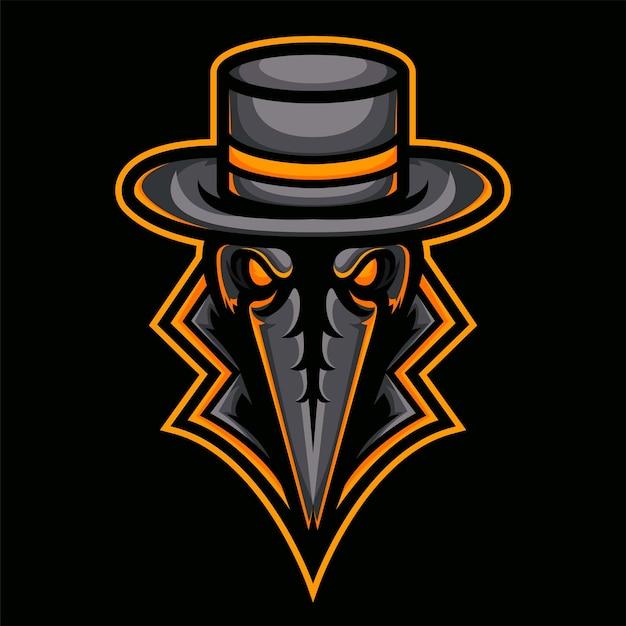 Logo arrabbiato della mascotte del mietitore per lo sport isolato su fondo scuro Vettore Premium