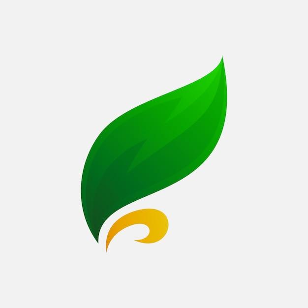 Logo artistico a foglia per azienda agricola Vettore Premium