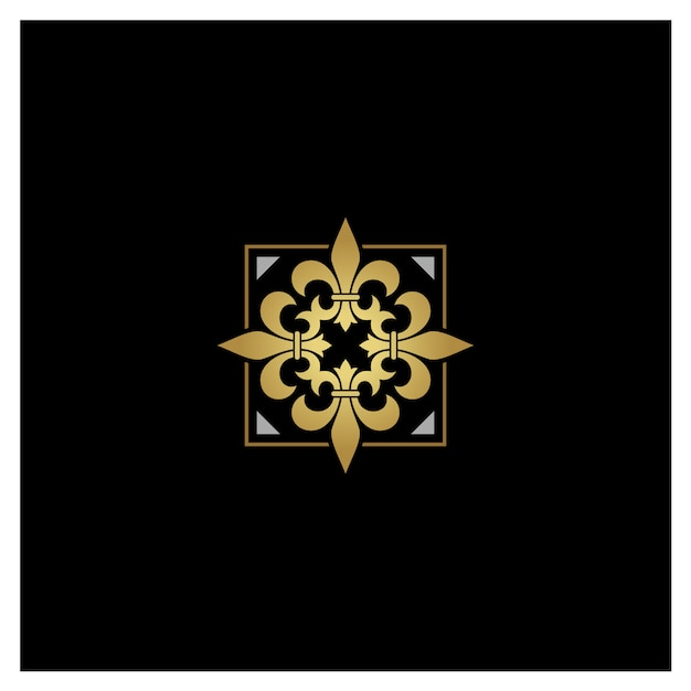 Logo artistico dorato d'argento fleur de lis Vettore Premium