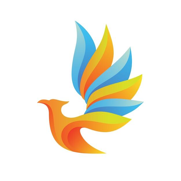 Logo astratto dell'uccello Vettore Premium