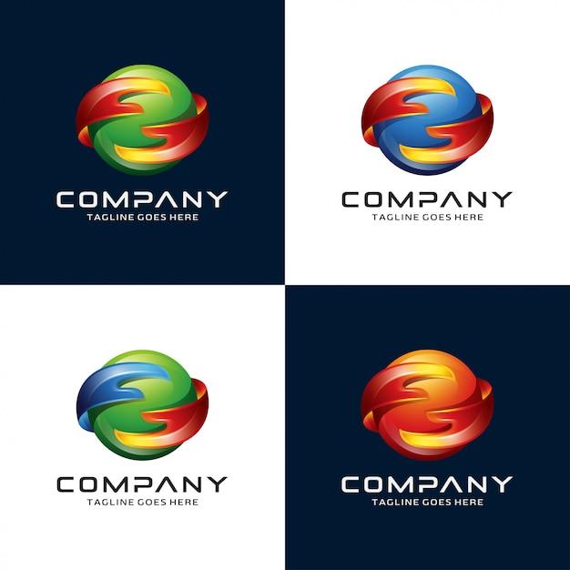 Logo astratto di mano e cerchio Vettore Premium