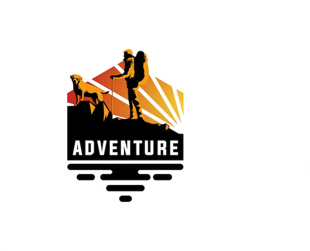 Logo avventura all'aria aperta Vettore Premium