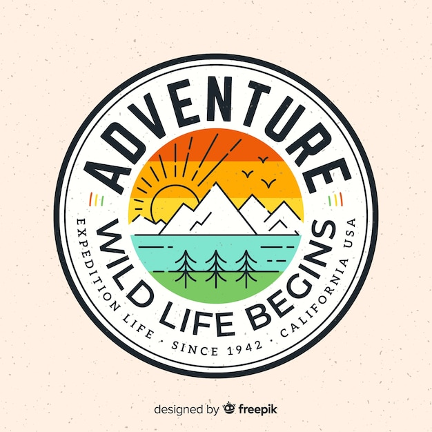 Logo avventura d'epoca Vettore gratuito