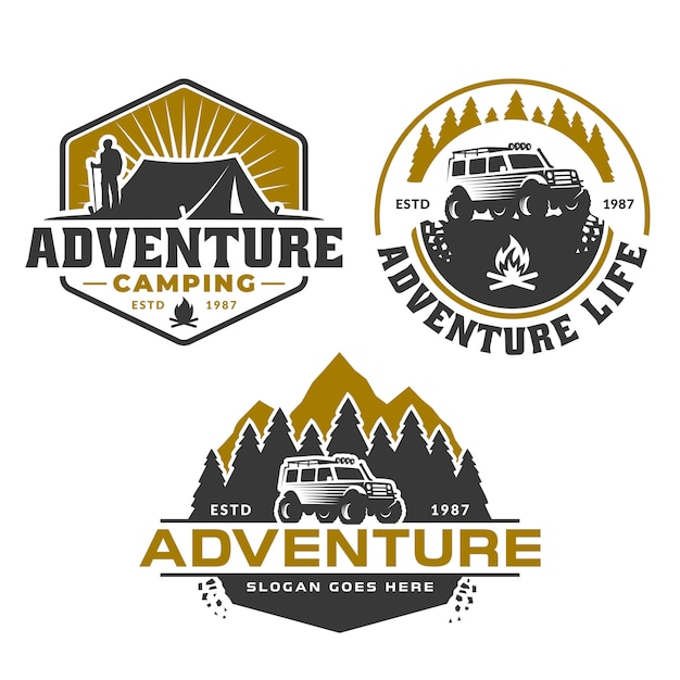 Logo avventura, foresta di montagna e auto fuoristrada, campeggio escursionistico Vettore Premium