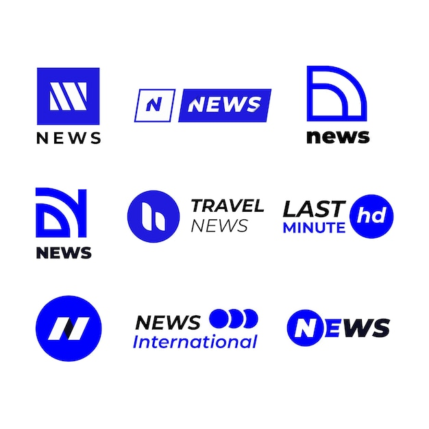 Logo aziendale blu e bianco notizie Vettore gratuito