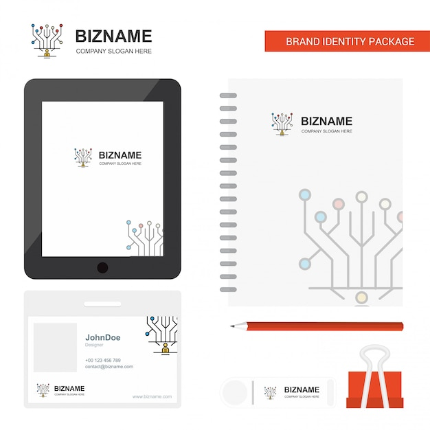 Logo aziendale del circuito, app per schede, carta per dipendenti in pvc diario e modello di pacchetto fisso di marca usb Vettore Premium