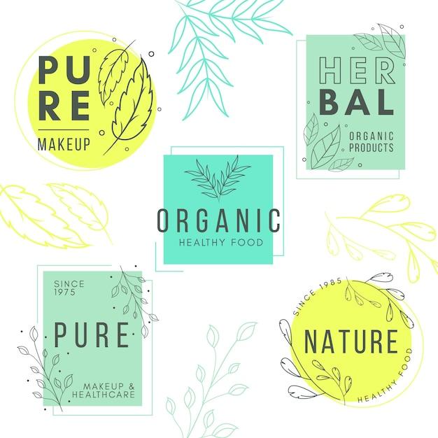Logo aziendale naturale impostato in stile minimal Vettore gratuito