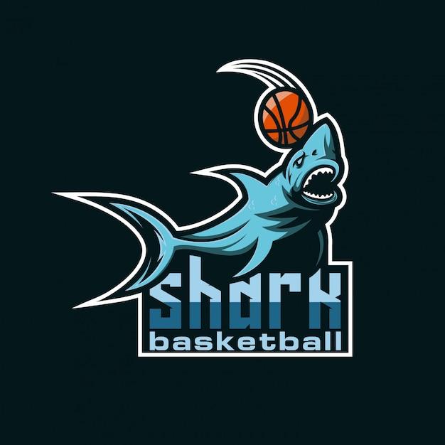 Logo basket squalo Vettore Premium