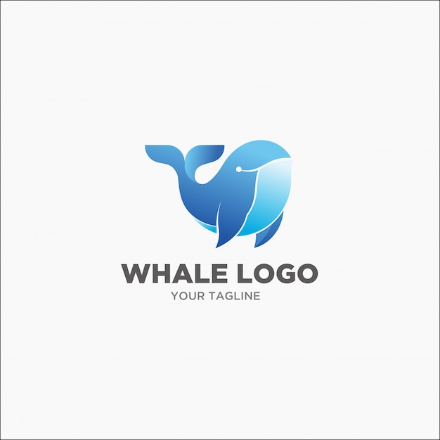 Logo blu megattera Vettore Premium