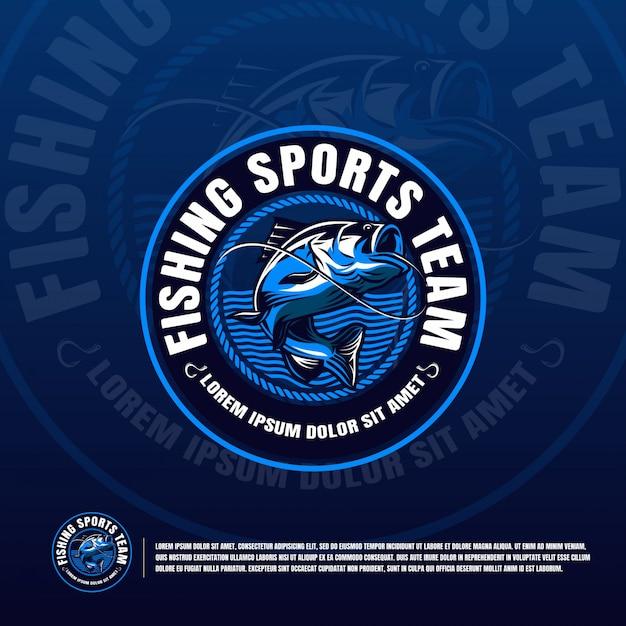 Logo blu pesca Vettore Premium