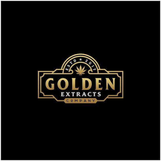 Logo cannabis vintage dorato di lusso Vettore Premium
