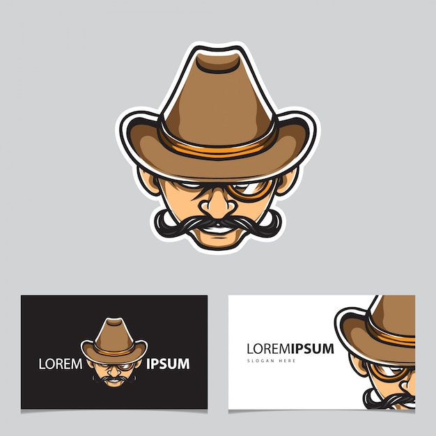 Logo capo detective Vettore Premium