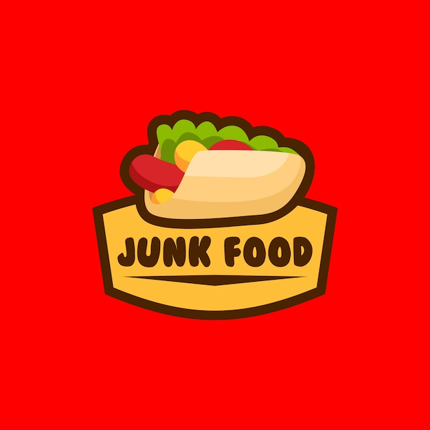 Logo cibo spazzatura Vettore Premium