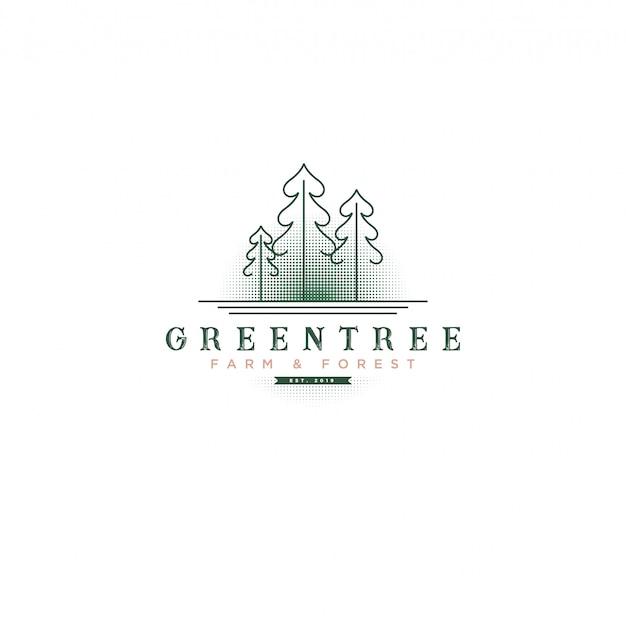 Logo classico albero verde vintage con albero e sfondo mezzitoni per logo farm & botanical Vettore Premium