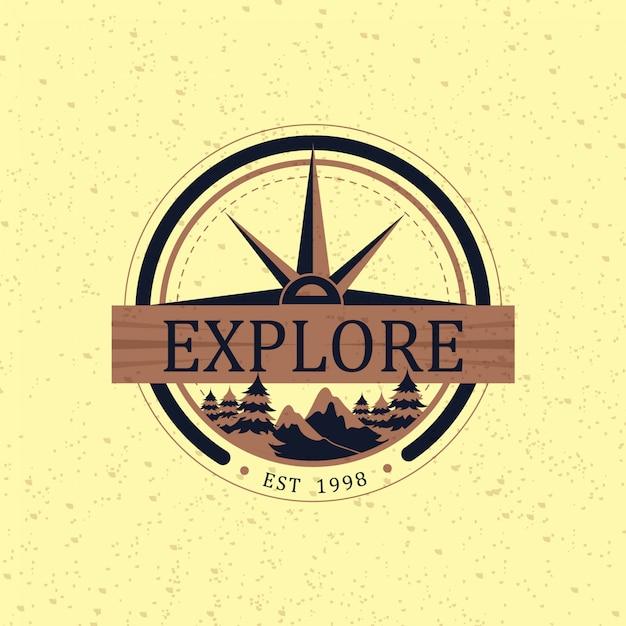 Logo classico di avventura Vettore Premium