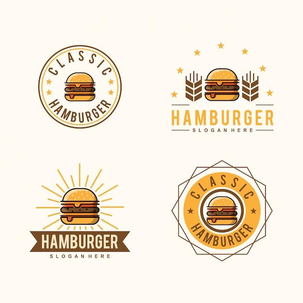 Logo classico di hamburger Vettore Premium