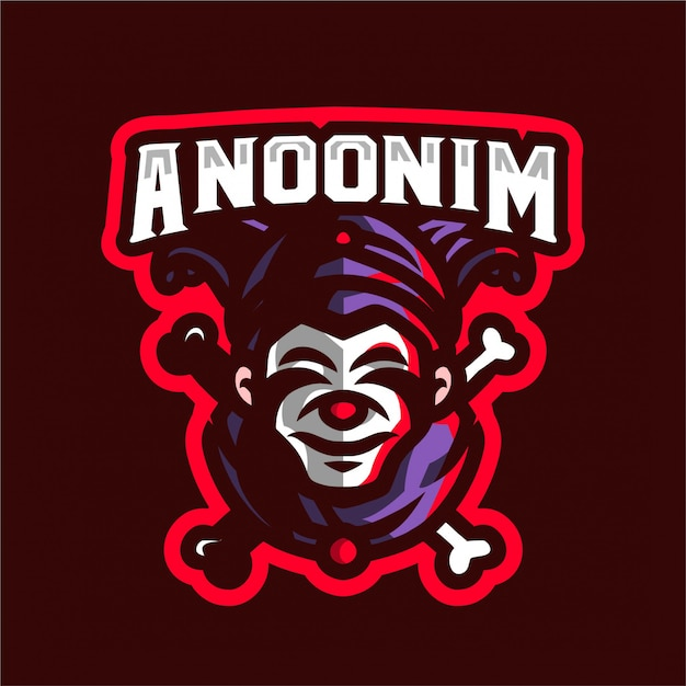 Logo clown e-sport Vettore Premium