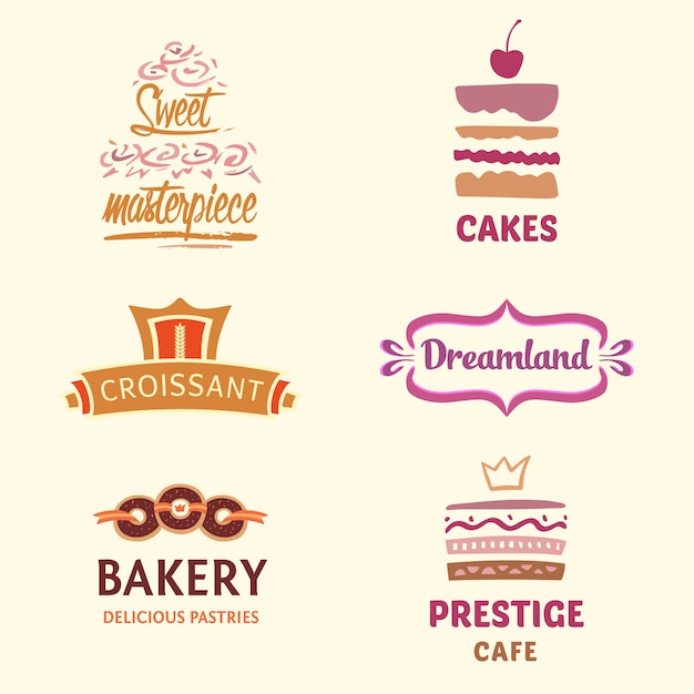 Logo collezione bakery Vettore gratuito