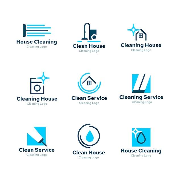 Logo collezione design per la pulizia Vettore gratuito