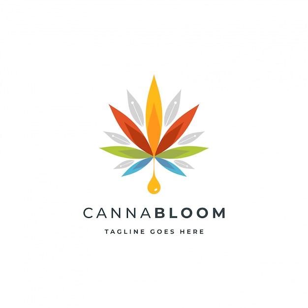 Logo colorato di canapa o canapa Vettore Premium