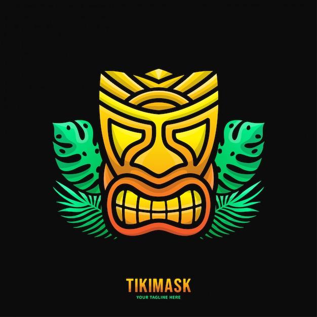 Logo colorato maschera tiki Vettore Premium