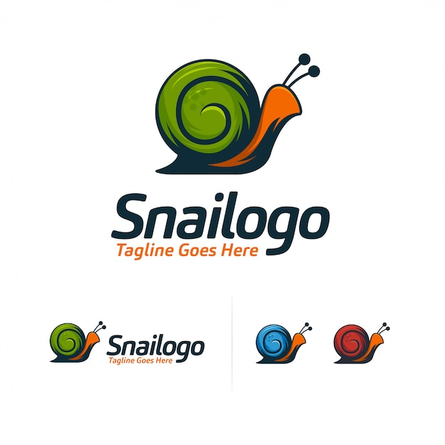 Logo cool snail Vettore Premium