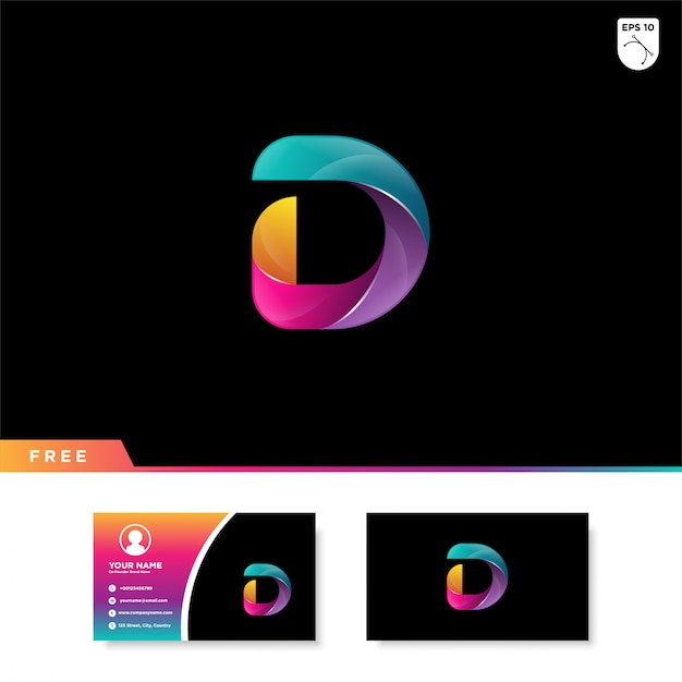 Logo creativo della lettera d con colore sfumato Vettore Premium