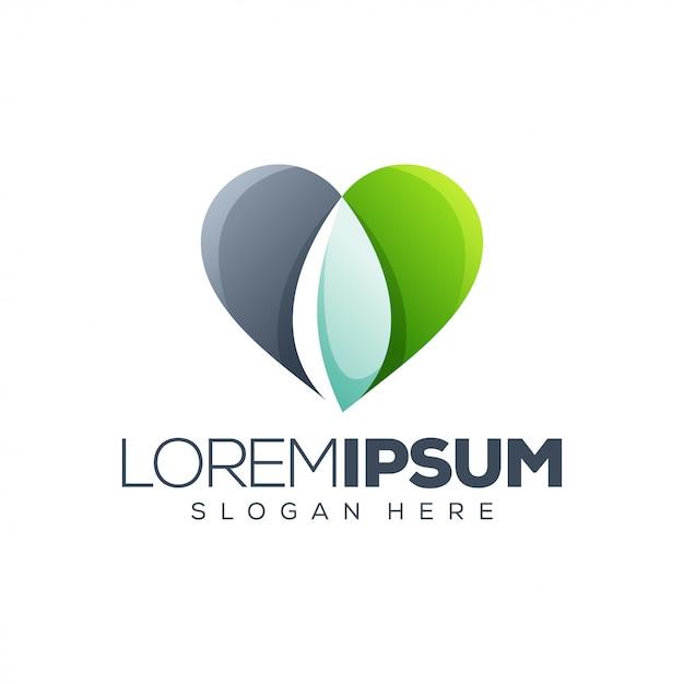 Logo cuore foglia Vettore Premium