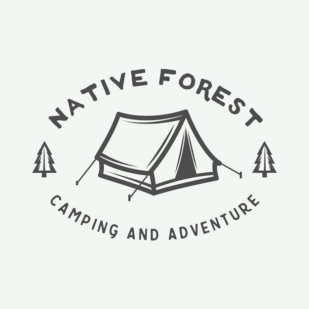 Logo da campeggio all'aperto Vettore Premium