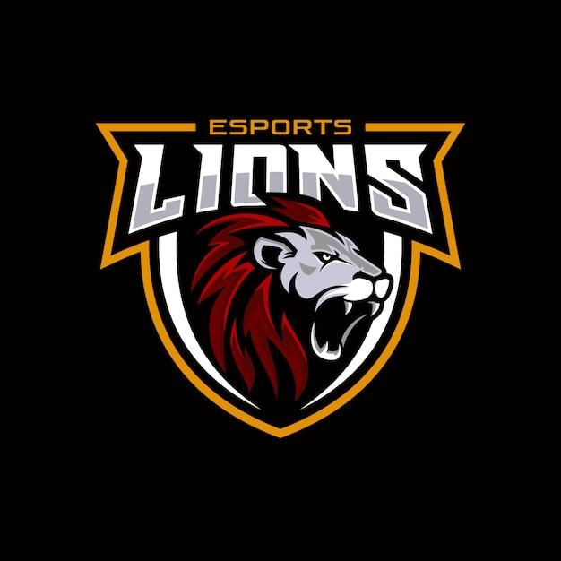 Logo da gioco testa di leone per mascotte esport e sport Vettore Premium