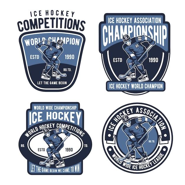 Logo dei distintivi del hockey su ghiaccio Vettore Premium