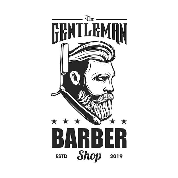 Logo del barbiere Vettore Premium
