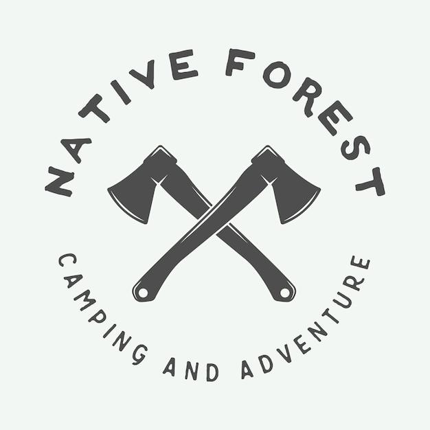 Logo del campeggio, distintivo Vettore Premium