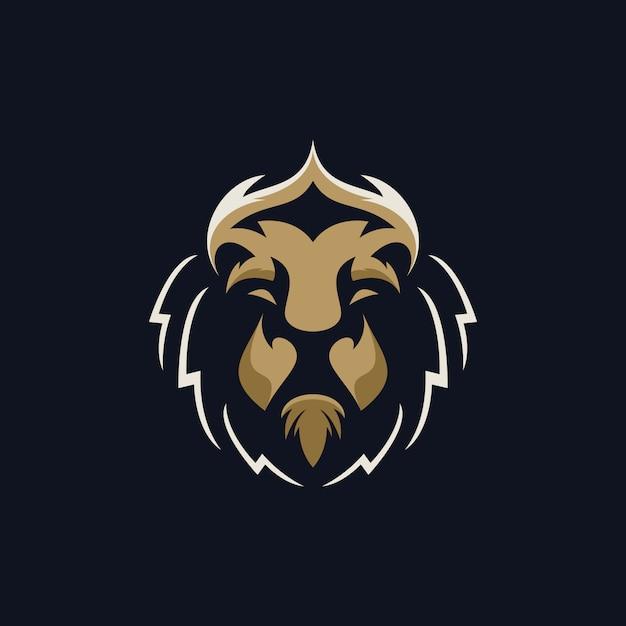 Logo del capo leone Vettore Premium