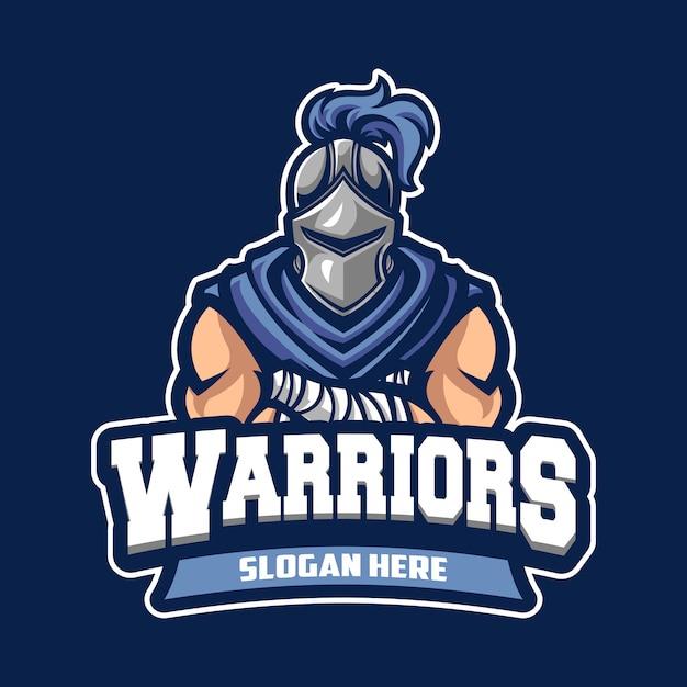 Logo del cavaliere guerriero sportivo Vettore Premium