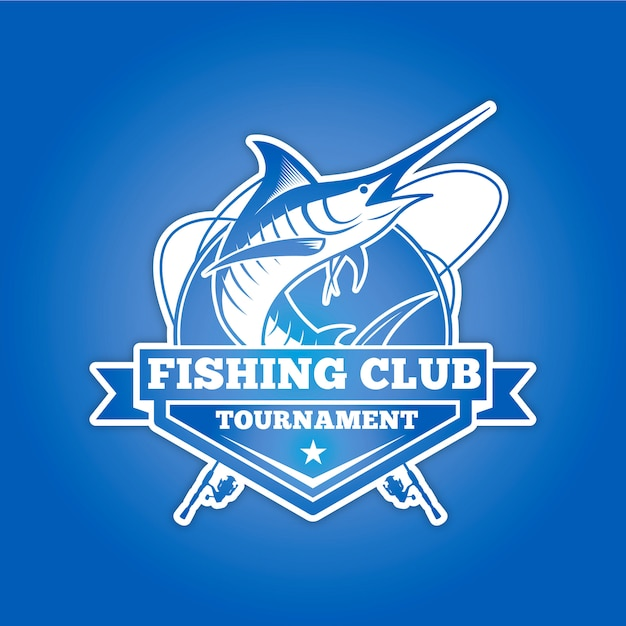 Logo del club di pesca per il torneo Vettore Premium