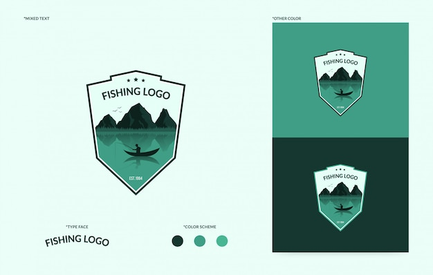 Logo del club di pesca piatto, logytype del concetto di torneo di pesca Vettore Premium