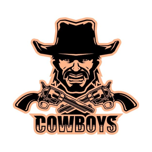 Logo del cowboy Vettore Premium