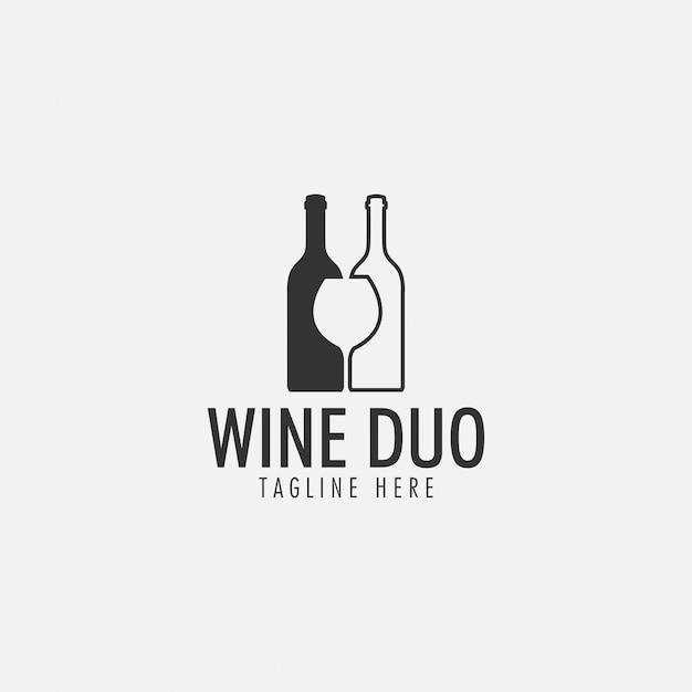Logo del duo di vini Vettore Premium
